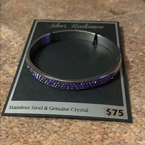 Silver radiance stainless steel & genuine crystal